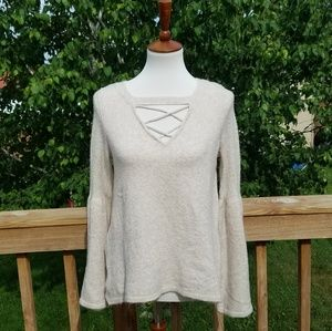 American Eagle Cream Criss Cross Sweater